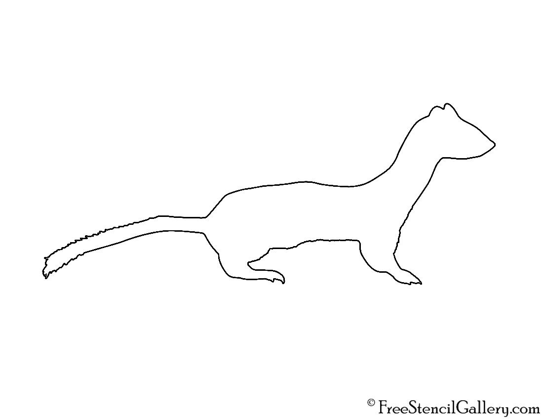 Weasel Silhouette Stencil