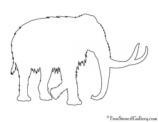 Woolly Mammoth Silhouette Stencil