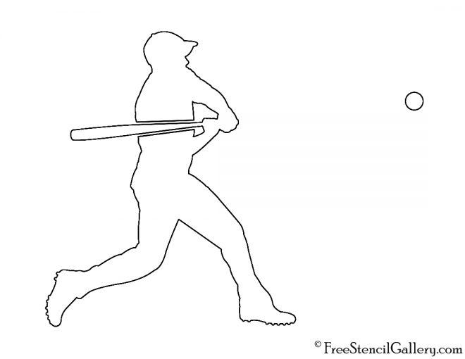 Baseball Player Silhouette 01 Stencil