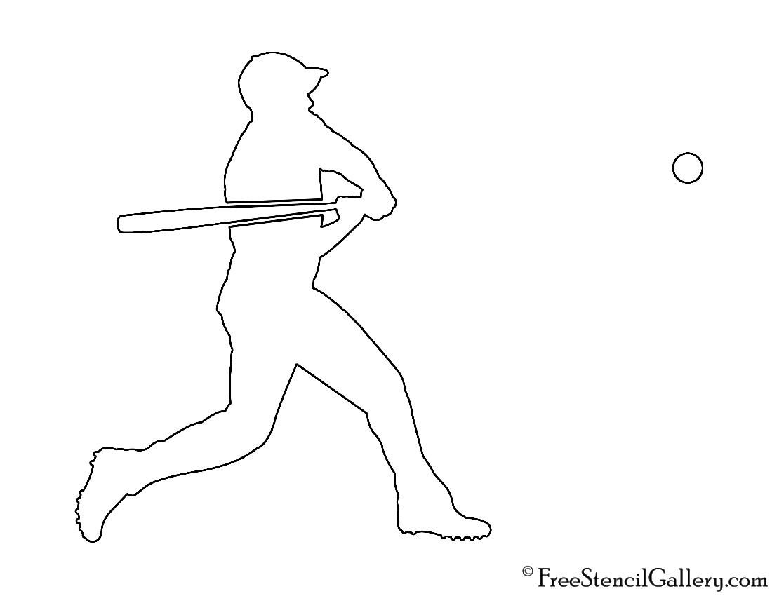 Baseball Player Silhouette 01 Stencil