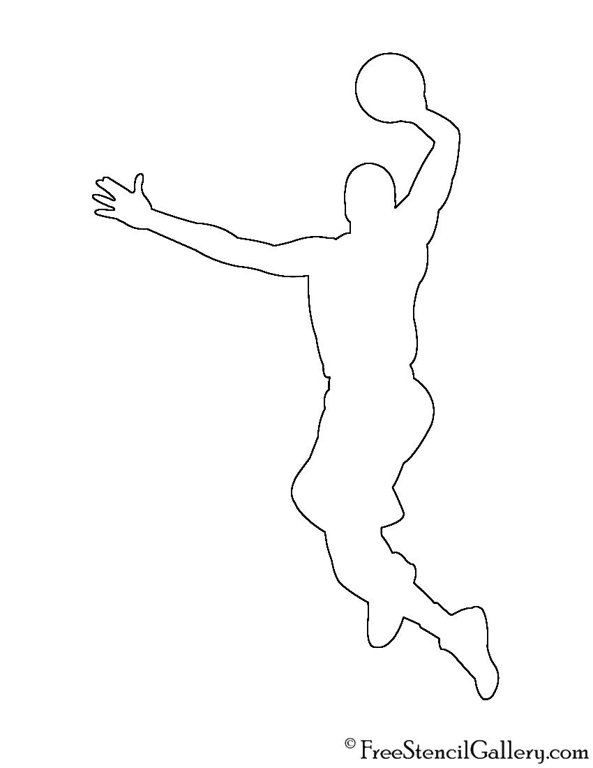 Basketball Player Silhouette Stencil