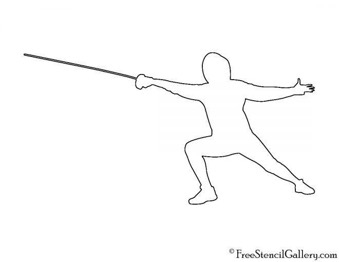 Fencer Silhouette Stencil