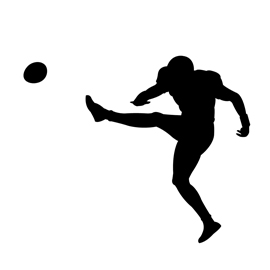 Football Kicker Silhouette Stencil