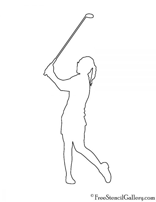 Golfer Silhouette 01 Stencil