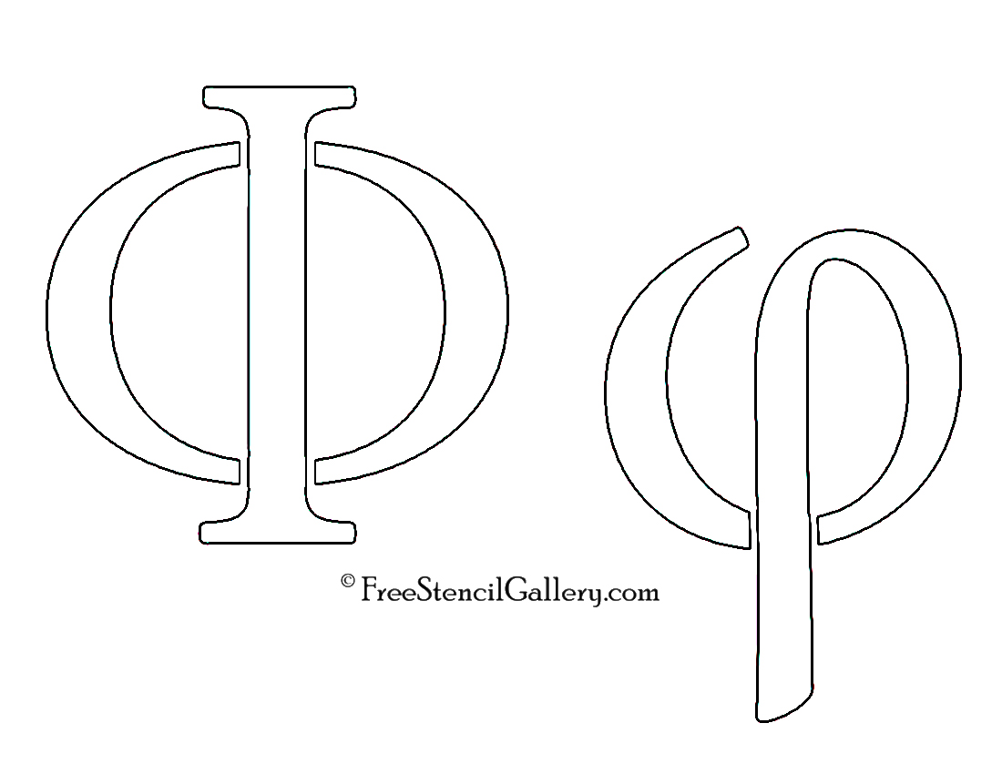 picture regarding Printable Greek Letters titled Greek Letter - Phi Absolutely free Stencil Gallery