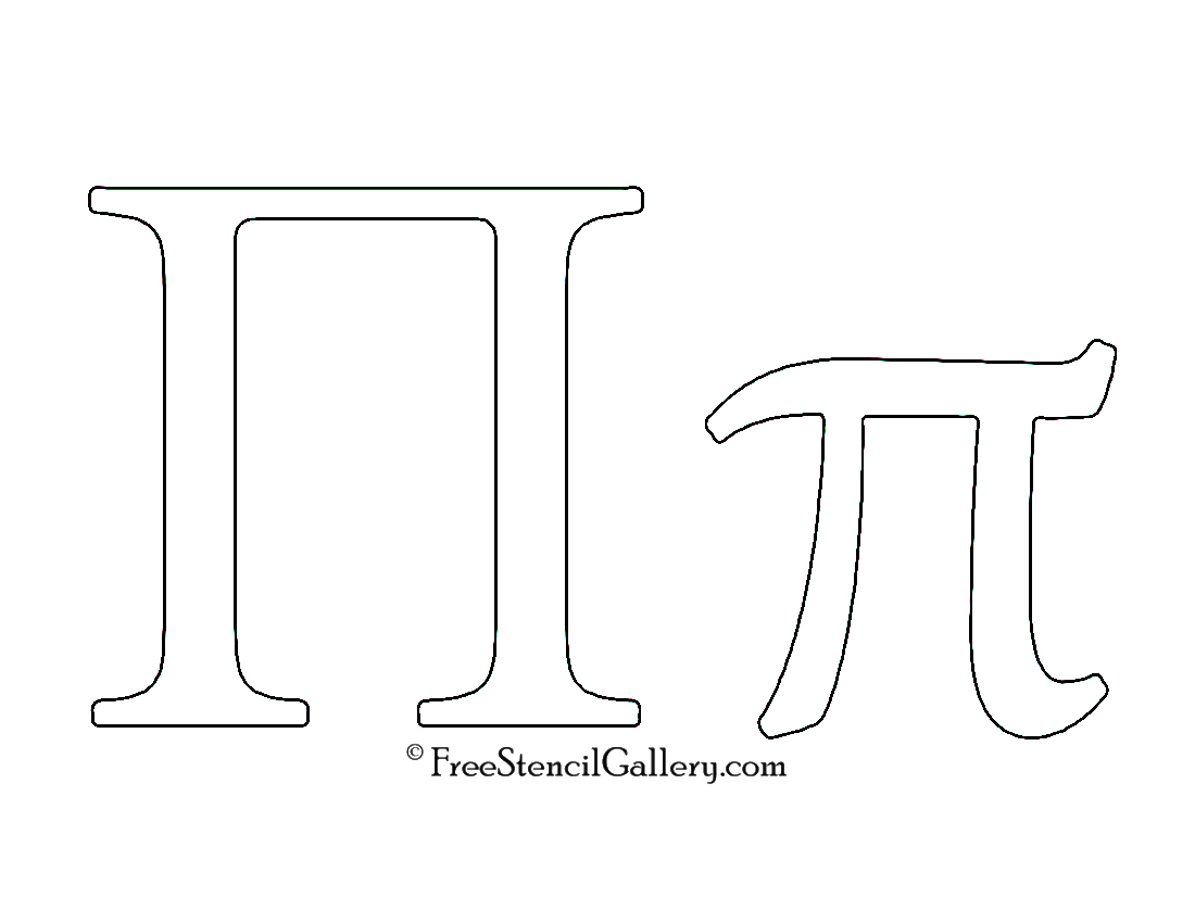 photo relating to Printable Greek Letters titled Greek Letter - Pi Cost-free Stencil Gallery