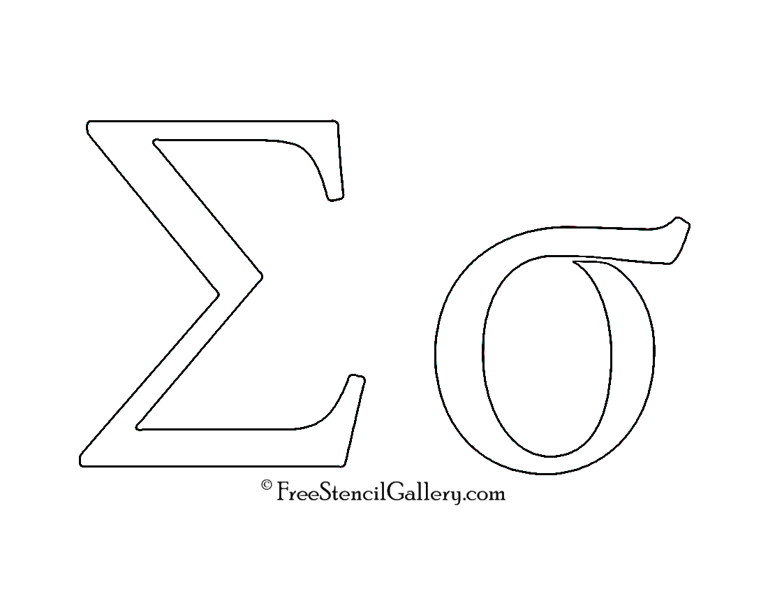 photo about Printable Greek Letters referred to as Greek Letter - Sigma Totally free Stencil Gallery