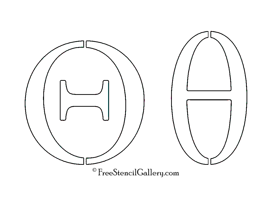 graphic relating to Greek Letters Stencils Printable identified as Greek Letter - Theta Totally free Stencil Gallery
