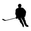 Hockey Player Silhouette 02 Stencil