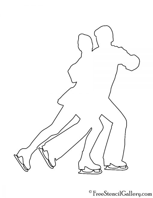 Ice Skaters Silhouette Stencil