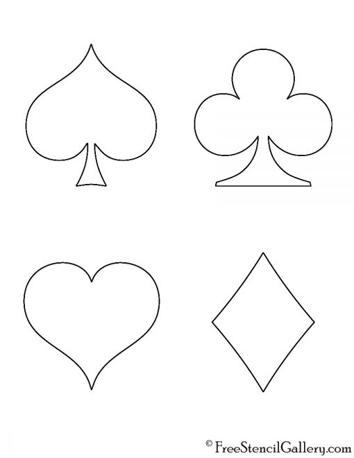 Playing Card Suits Stencil
