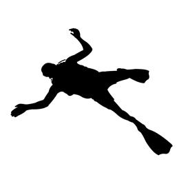 Scuba Diver Silhouette Stencil