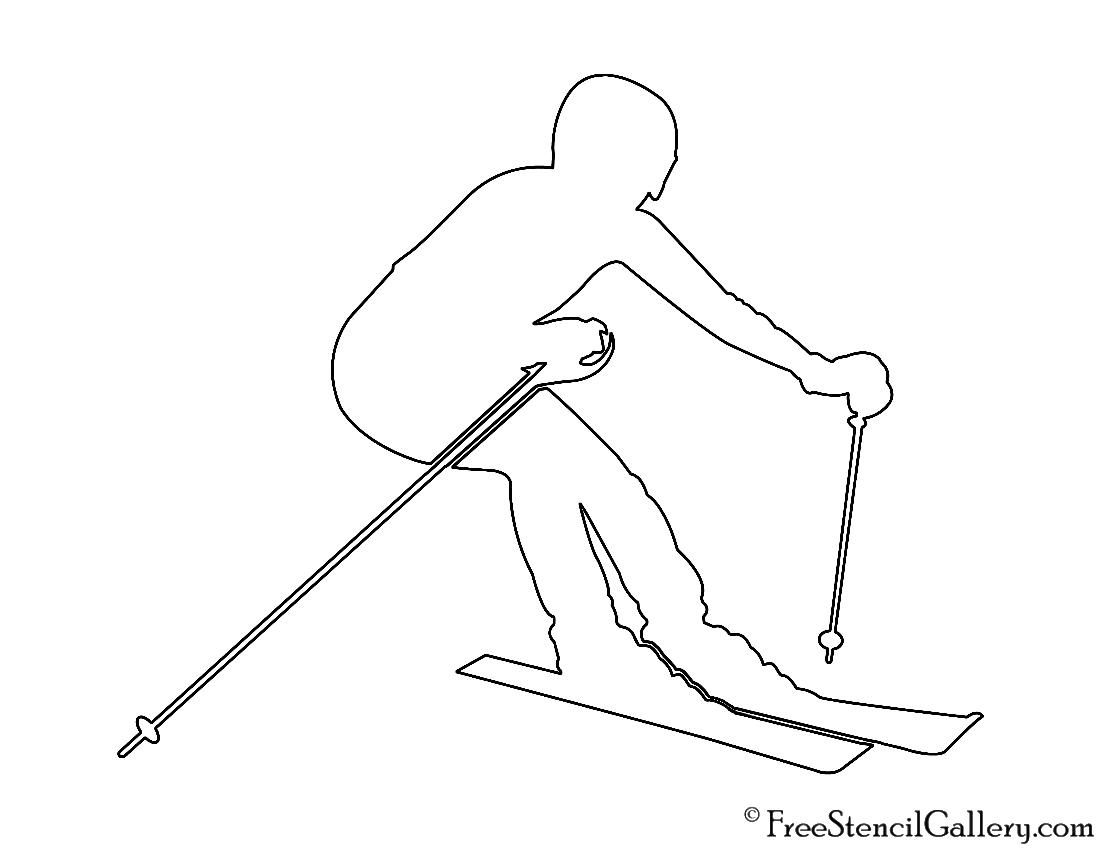 Skier Silhouette 02 Stencil