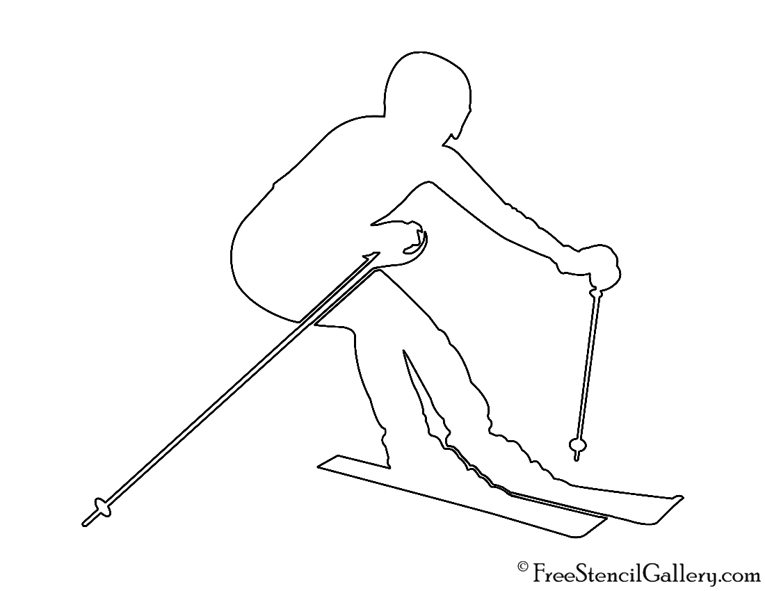 Skier silhouette stencil free gallery