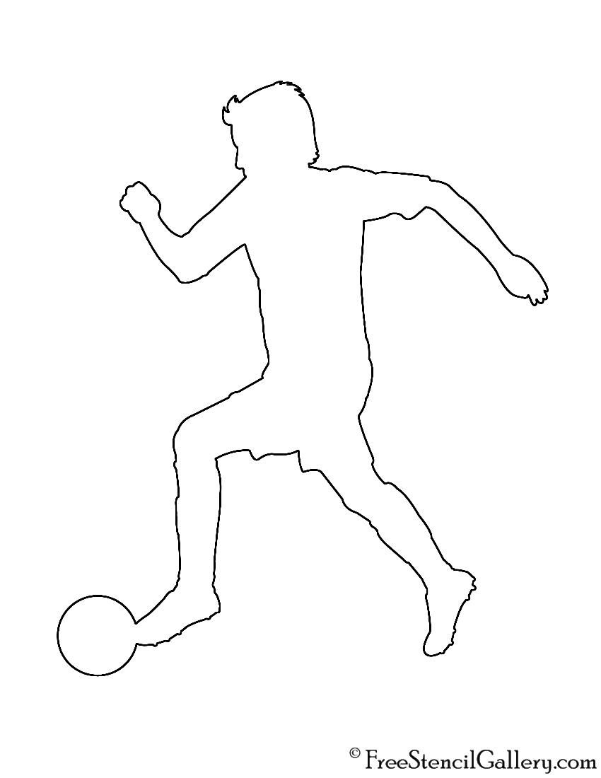Soccer Player Silhouette 02 Stencil