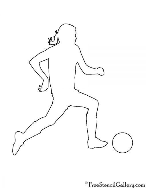 Soccer Player Silhouette 03 Stencil