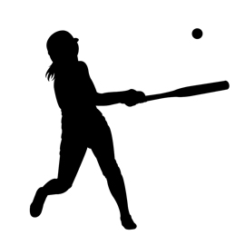 Softball Player Silhouette 01 Stencil