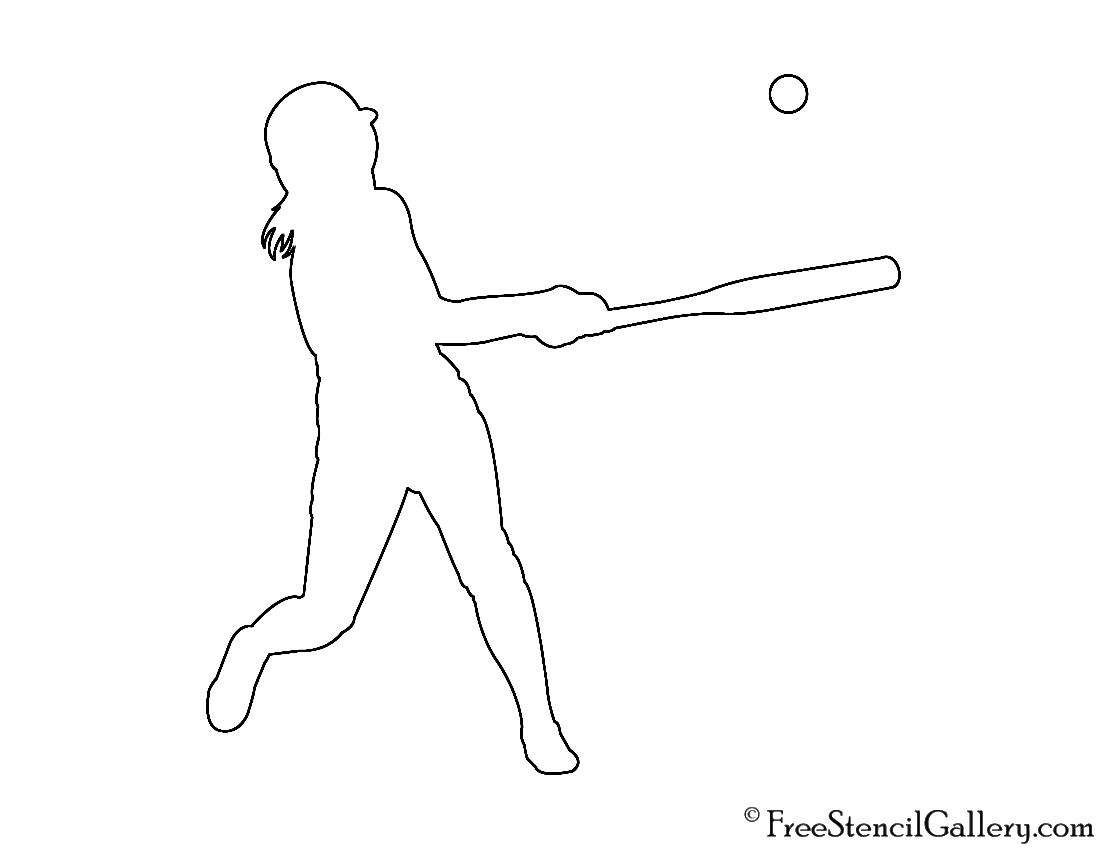 Softball Player Silhouette 01 Stencil