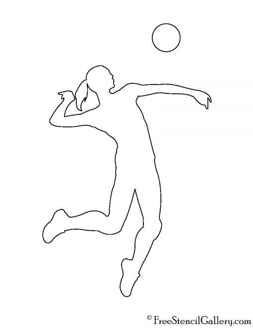 Volleyball hitter silhouette stencil free gallery