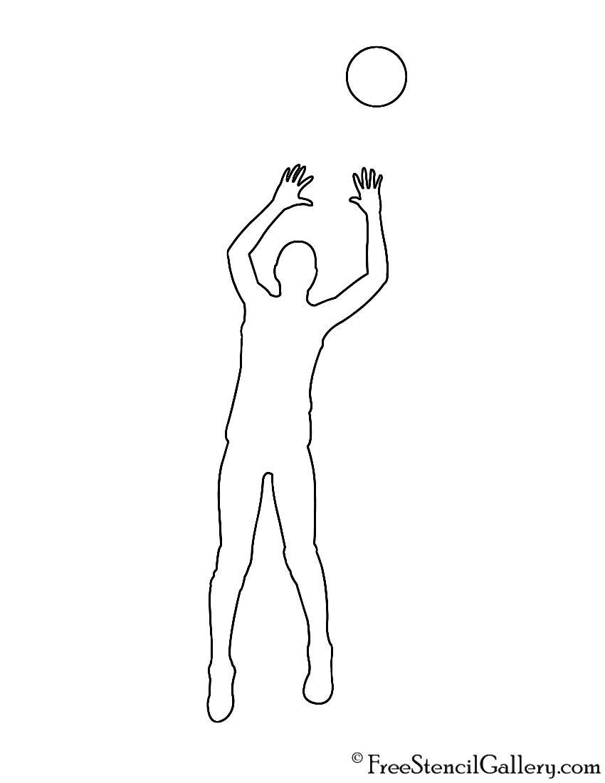 Volleyball Setter Silhouette Stencil