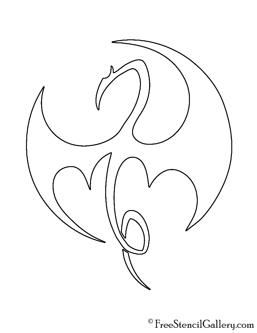 Iron Fist Symbol 02 Stencil