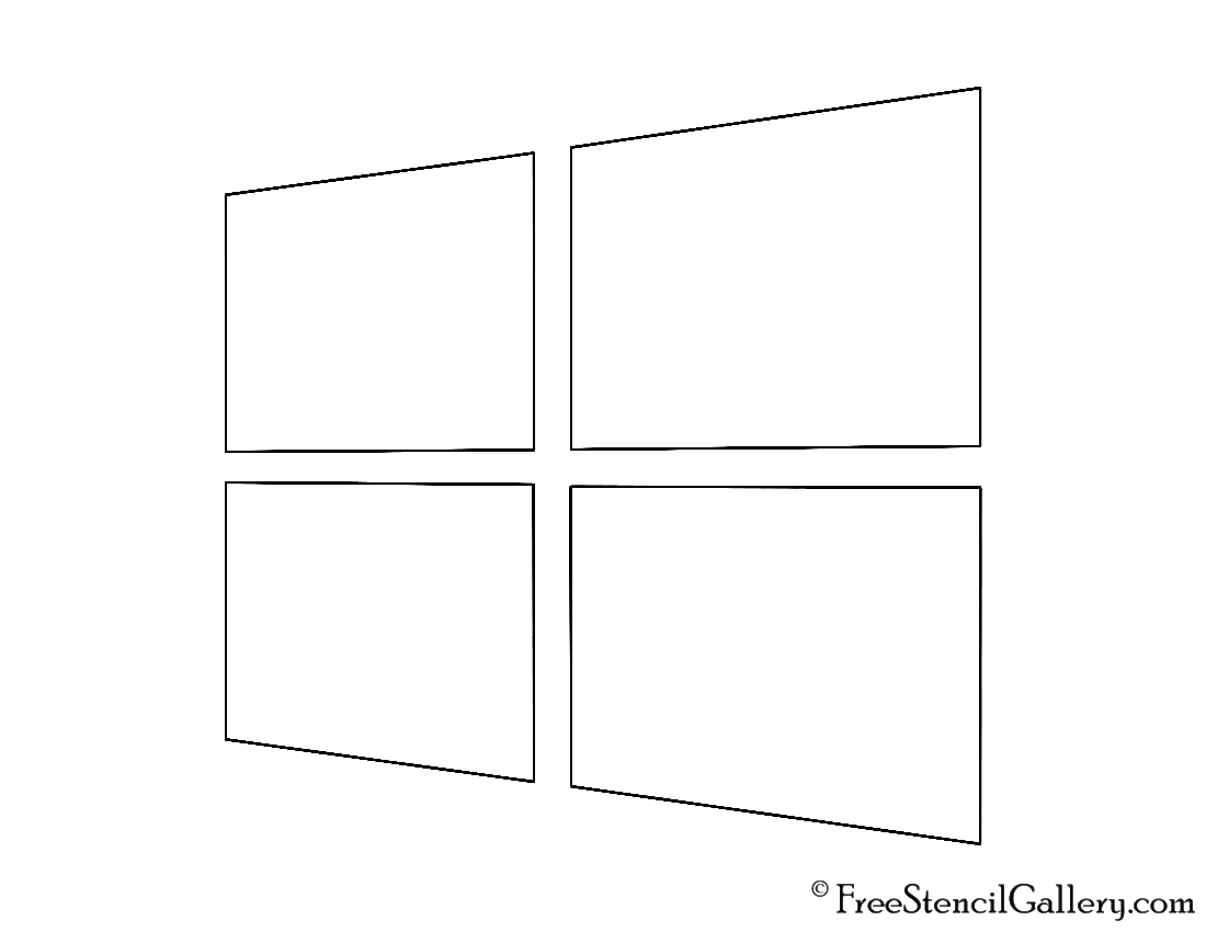 Microsoft Windows Logo 02 Stencil