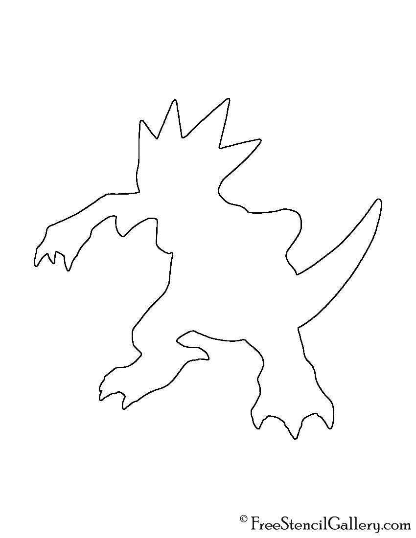 Pokemon - Golduck Silhouette Stencil