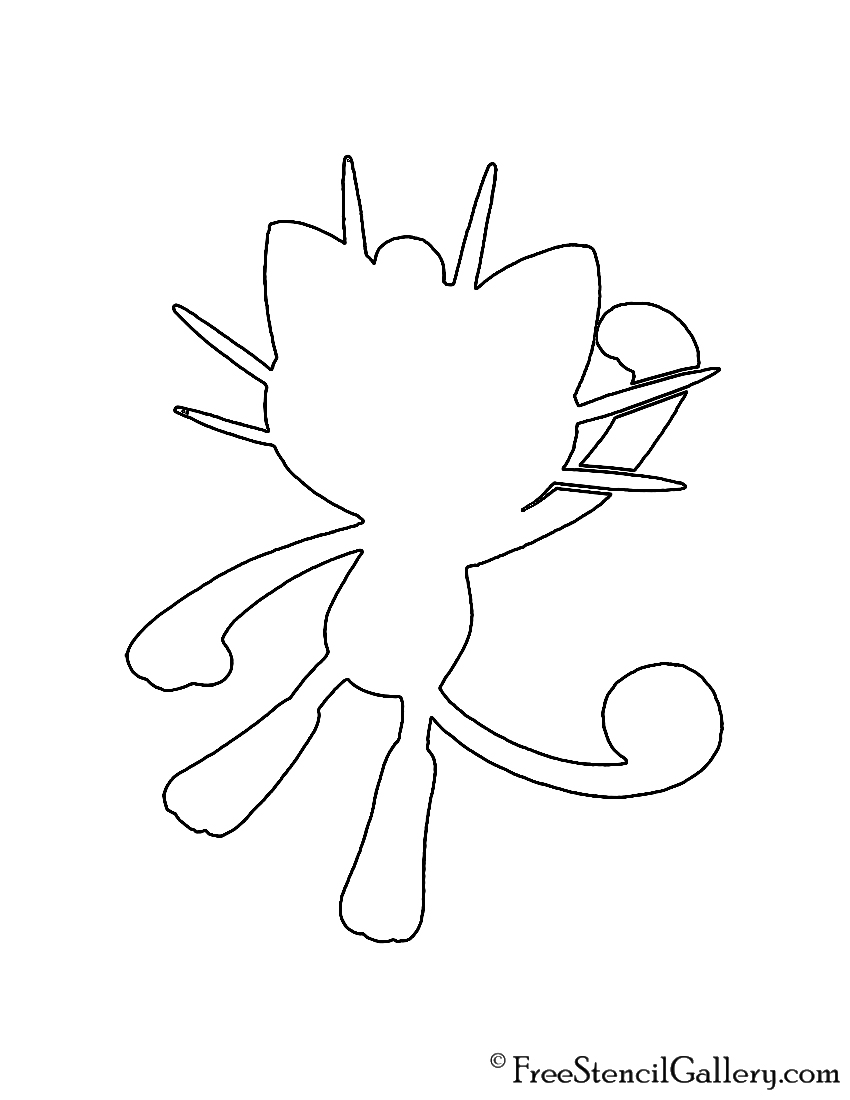 Pokemon - Meowth Silhouette Stencil