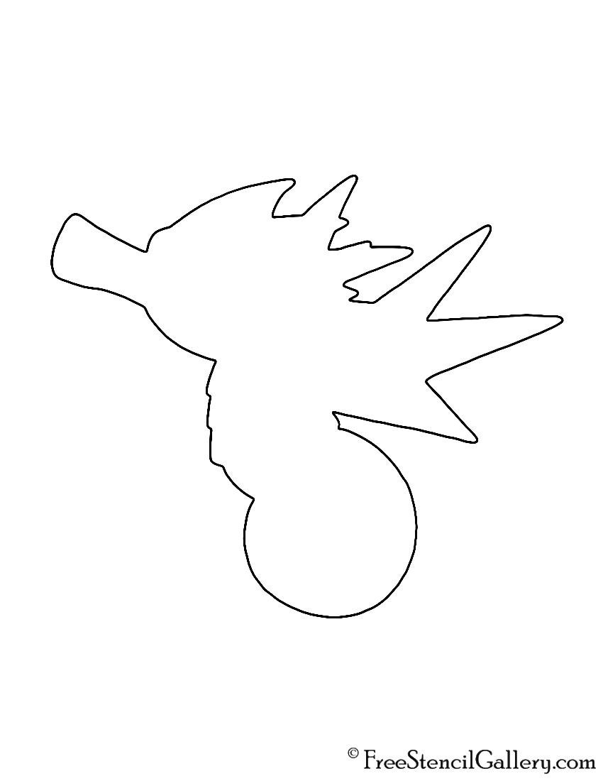 Pokemon - Seadra Silhouette Stencil