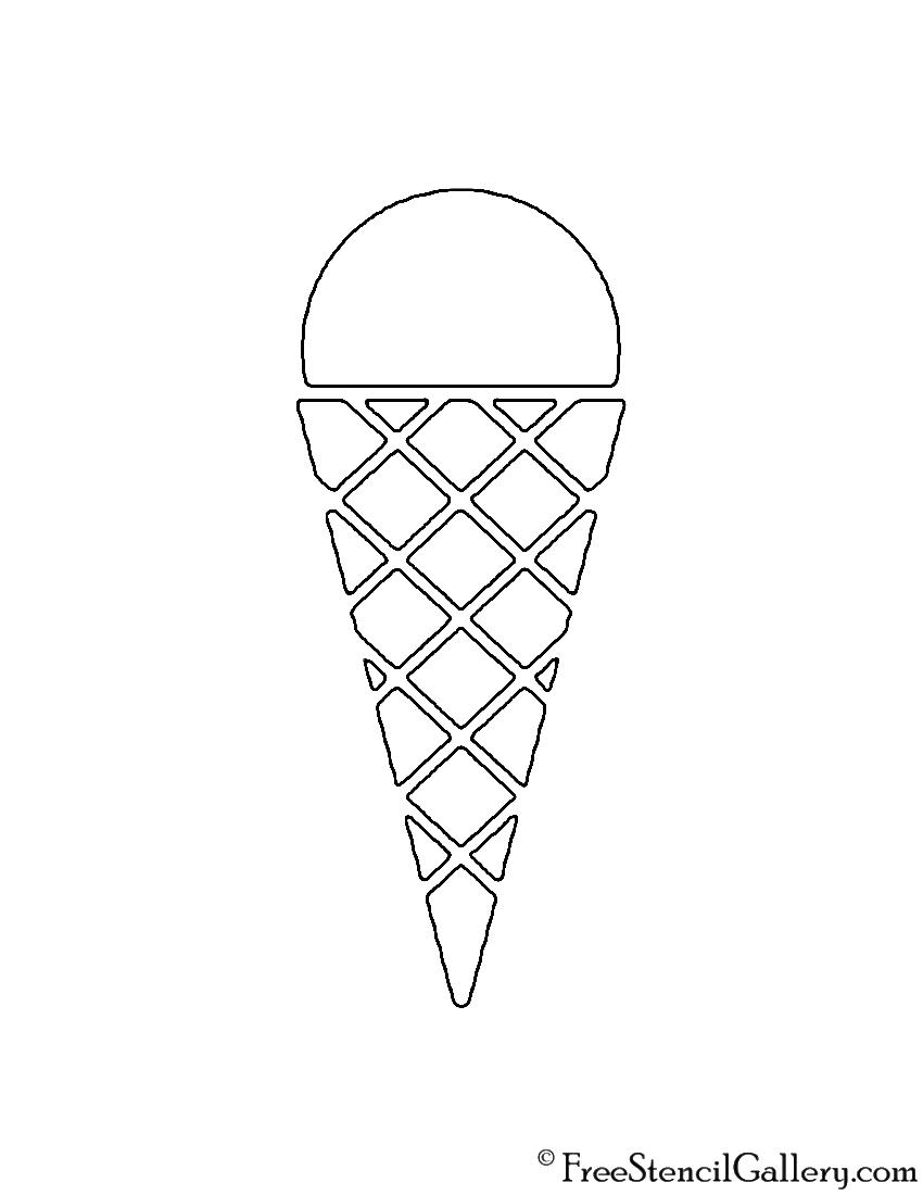 Ice Cream Cone 02 Stencil