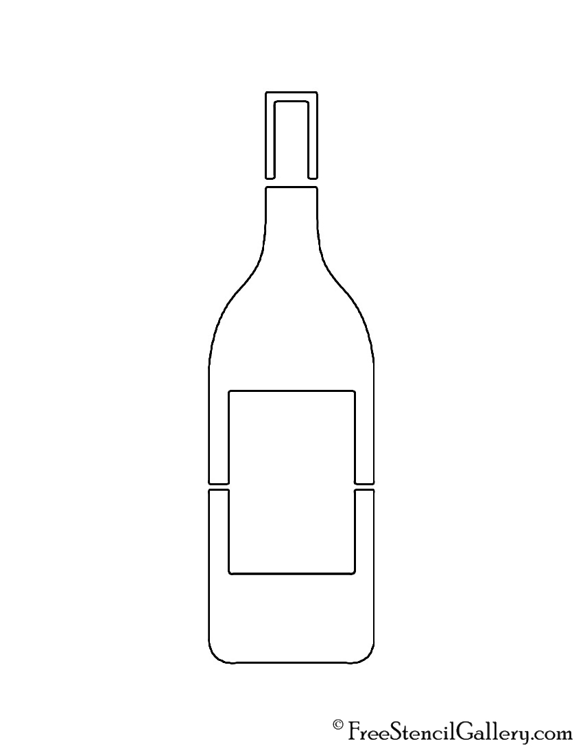 graphic relating to Free Printable Wine Glass Stencils called Wine Bottle Stencil Cost-free Stencil Gallery