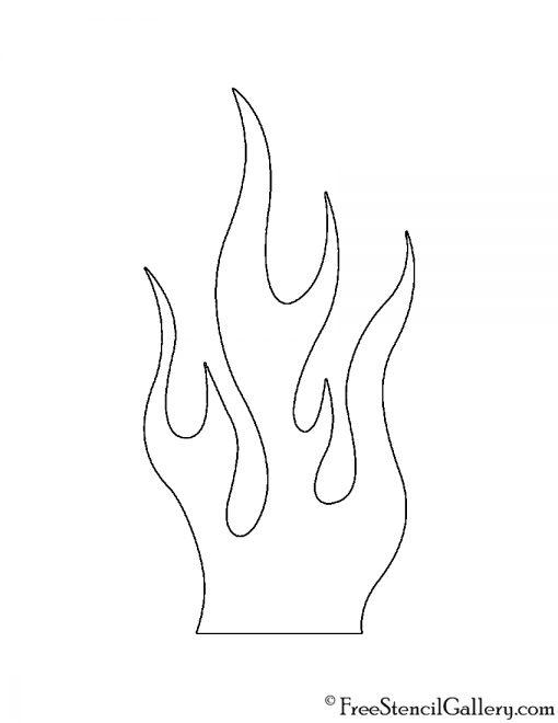 Flames 02 Stencil