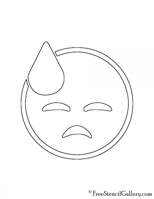 Emoji - Cold Sweat 02 Stencil