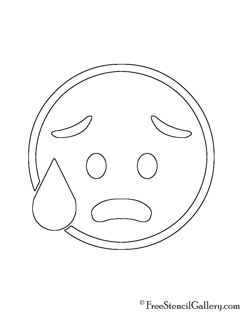 Emoji - Cold Sweat Stencil