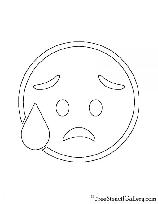 Emoji - Disappointed Relieved Stencil