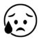 Emoji - Disappointed Relieved Stencil