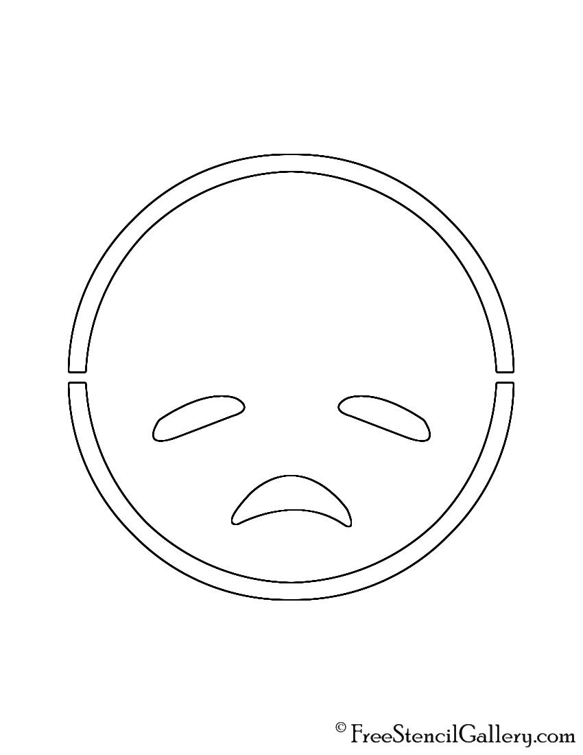 Emoji - Disappointed Stencil