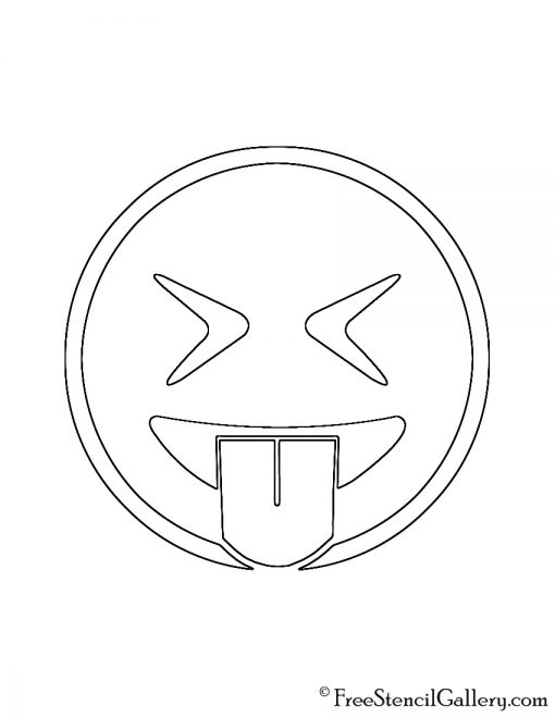Emoji - Eyes Closed Tongue Out Stencil