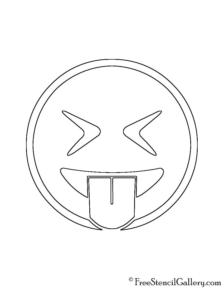 Emoji - Eyes Closed Tongue Out Stencil