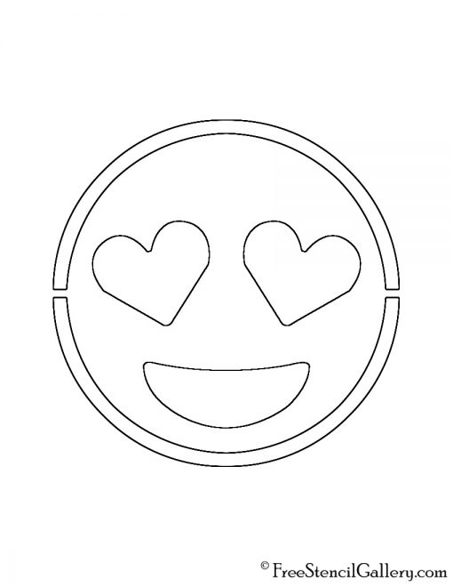 Emoji - Heart Eyes Stencil