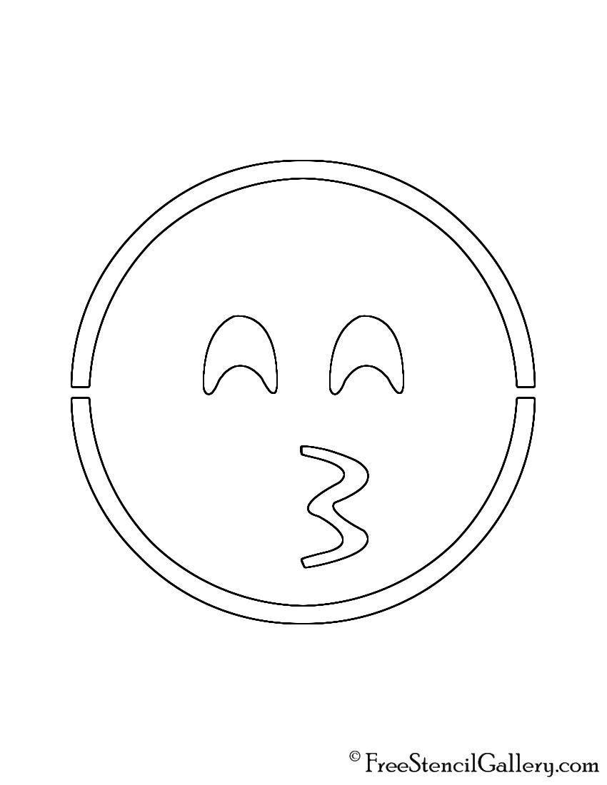 Emoji - Kissing Smiling Eyes Stencil