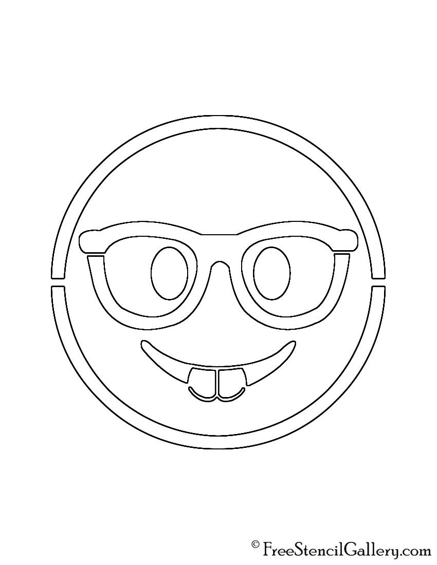 picture regarding Emoji Stencils Printable referred to as Emoji - Nerd Stencil No cost Stencil Gallery