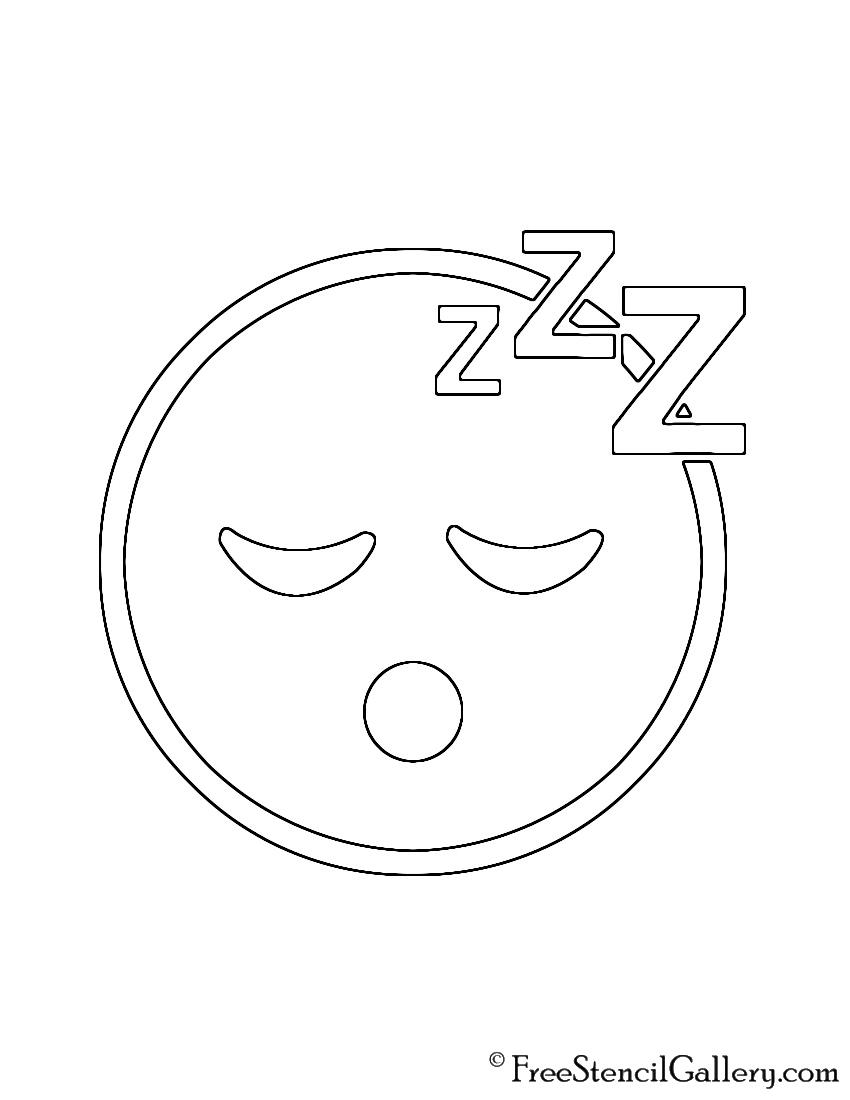 photo relating to Emoji Stencils Printable named Sleepy Emoji