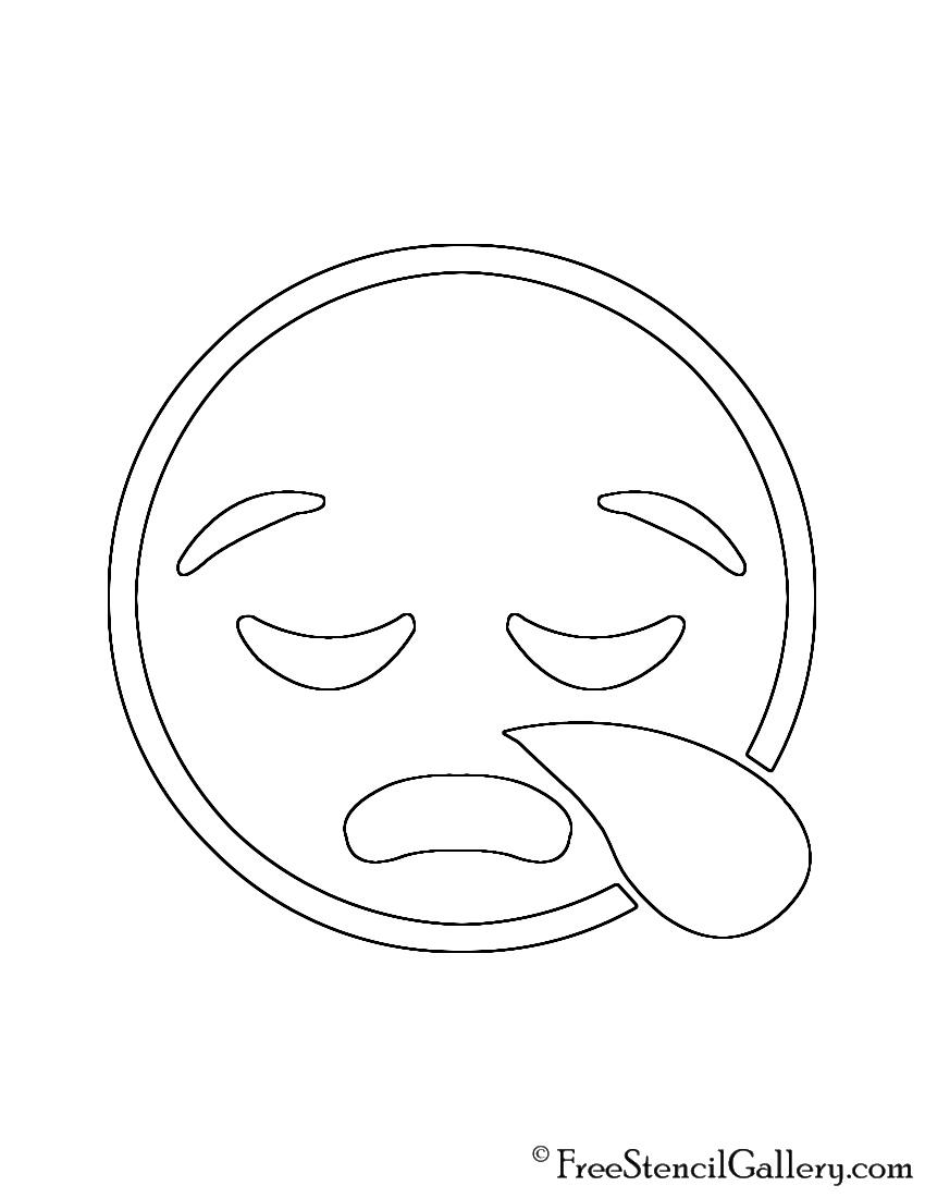 Emoji - Sleepy Stencil   Free Stencil Gallery
