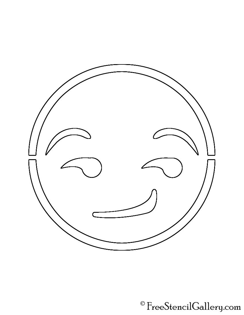 Emoji - Smirk Stencil | Free Stencil Gallery