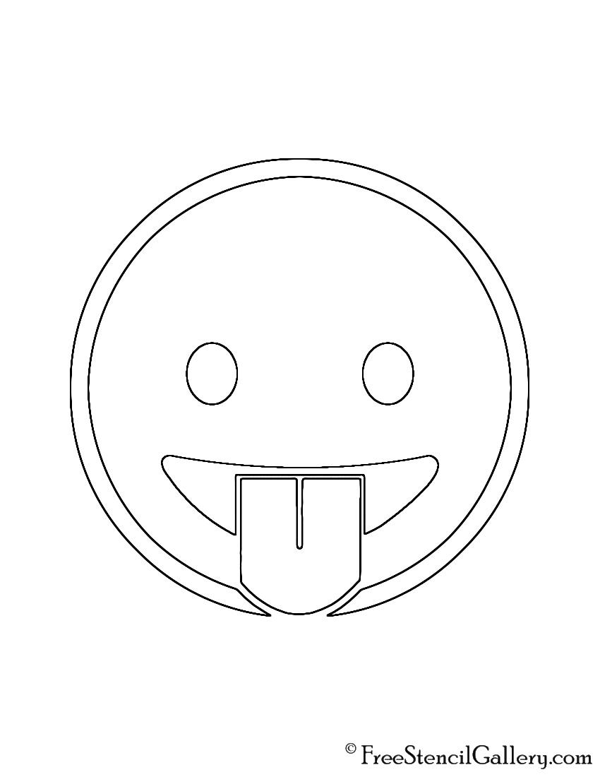Emoji - Tongue Out Stencil