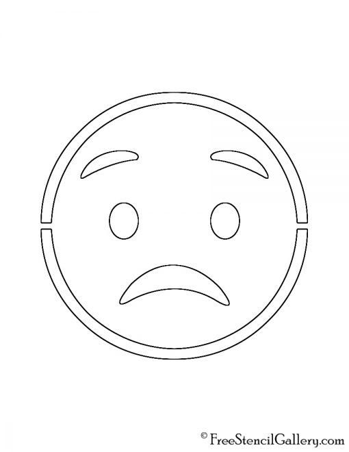 Emoji - Worried Stencil