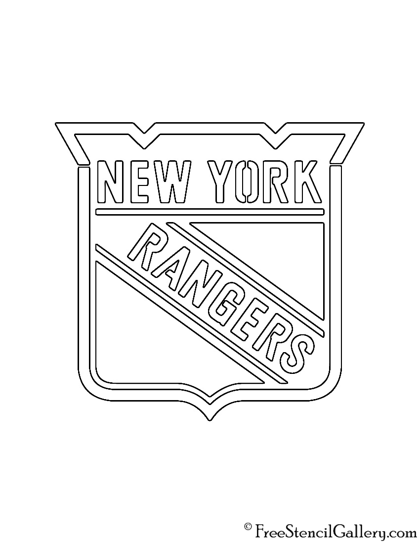New york rangers logo coloring pages ~ NHL - New York Rangers Logo Stencil | Free Stencil Gallery