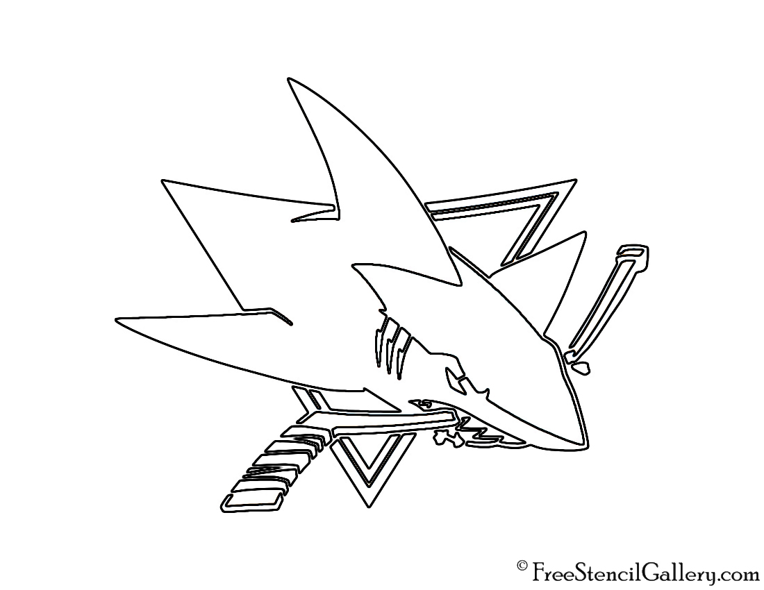 San jose sharks stencil pictures to pin on pinterest for San jose sharks coloring pages