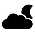 Weather Icon - Cloud and Moon Stencil